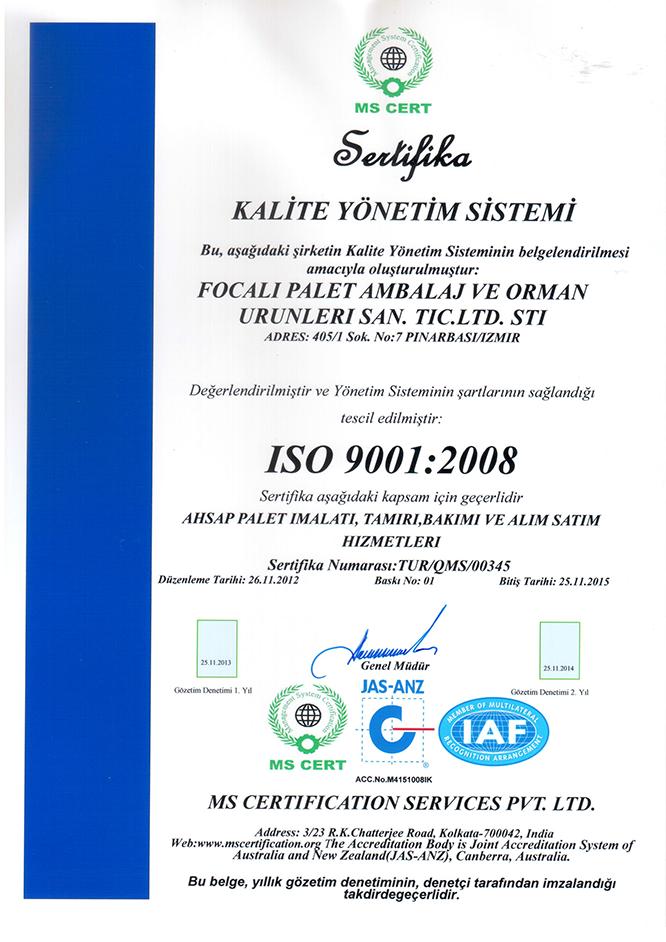 Foçalı Palet Kalite Yönetim Sistemi Belgesi